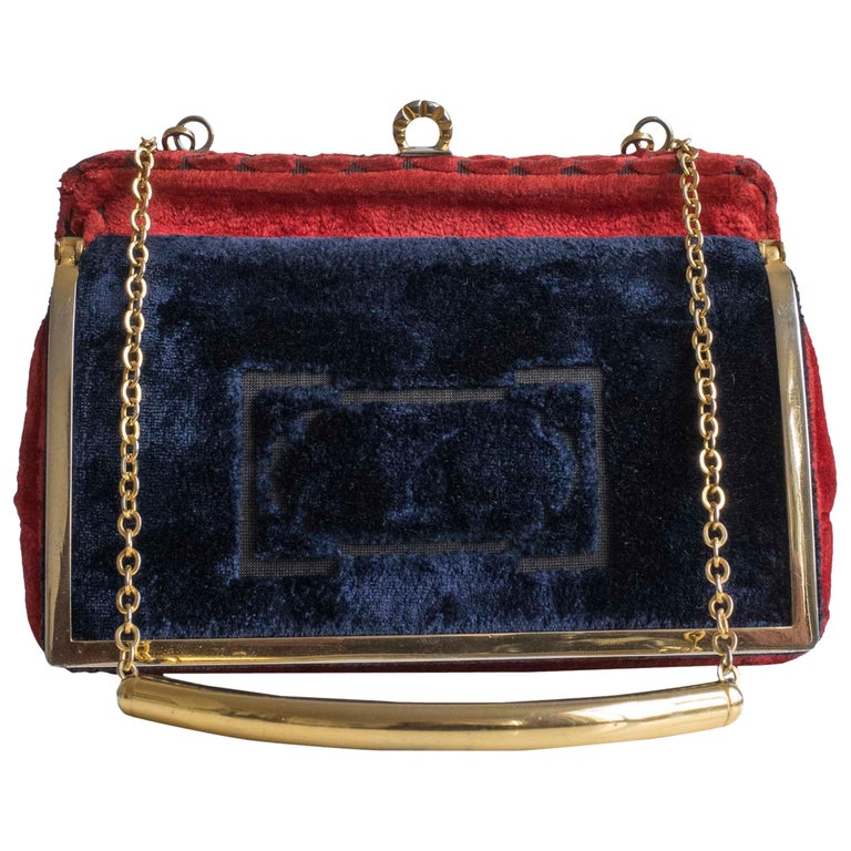 Cesare Piccini Vintage Blue and Red Velvet Handbag / Purse, 1960s