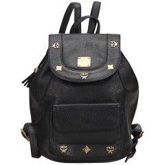 MCM Black Leather Studded Backpack