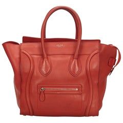 Celine Red Leather Luggage Tote