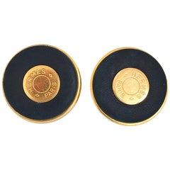 Hermes 24 Karat Gold Plated Black Leather Statement Clip on Earrings with Logo