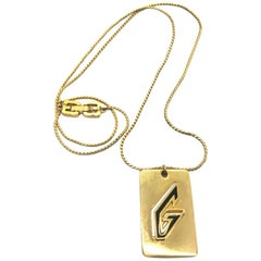 Givenchy 1970s Gold Plated G Logo Pendant Necklace