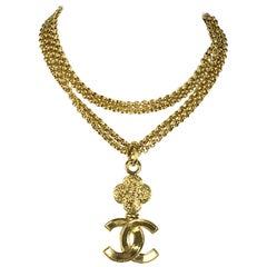1995 Chanel Gilt Double-Chain Logo Pendant Necklace