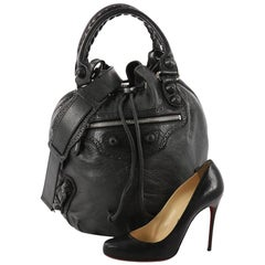 Balenciaga Pom Pon Classic Studs Handbag Leather Mini