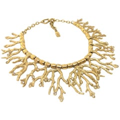 Yves Saint Laurent YSL Goosens Vintage Gold Plated Coral Necklace, 1970s