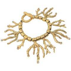 Yves Saint Laurent YSL 1970s Vintage Goosens Coral Gold Plated Bracelet