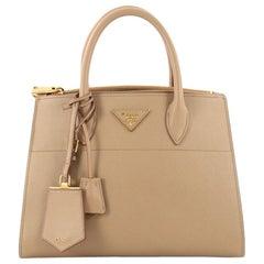 Prada Esplanade Handbag Greca Saffiano with City Calf Medium