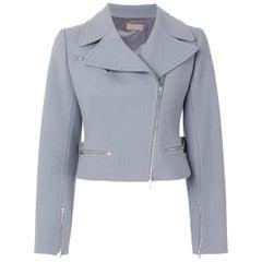 Azzedine Alaia Grey Lilac Cropped Biker Jacket