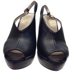 Prada Black Leather Peep Toe Heels