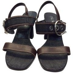 Prada Denim Blue Strappy Heeled Sandal