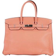 Hermes Birkin Handbag Crevette Pink Clemence with Palladium Hardware 35