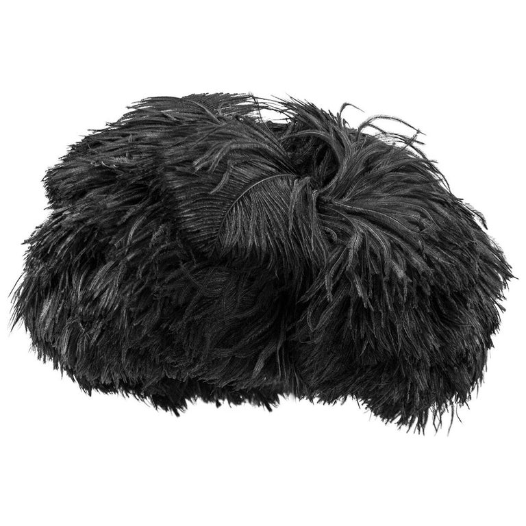 1950s Yves Saint Laurent for Christian Dior Black Feather Hat