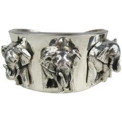 Carol Felley Sterling Silver Elephant Cuff Bracelet 1990s