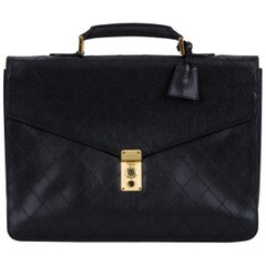 1990's Chanel Black Quilted Caviar Briefcase Bag