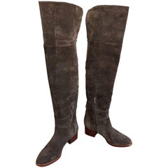 New Chloe Size 37 / 7 Brown Suede Leather Over The Knee Riding Boots