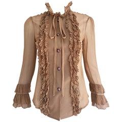 Vintage Chloe 1990s Victorian Silk Nude Chiffon Size 4 Sheer 90s Tuxedo Blouse