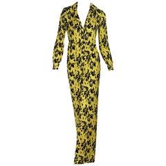 Yellow & Black Yigal Azrouel Printed Silk Jumpsuit