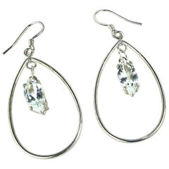 Earrings of Sterling Silver Teardrops with Sparkling Sri Lankan Spinels