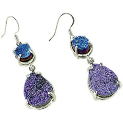 Gemjunky Sparkly Teal and Purple Druzy Dangle Earrings