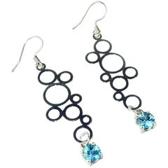 Sterling Silver Circles and Blue Sri Lankan Spinel Earrings