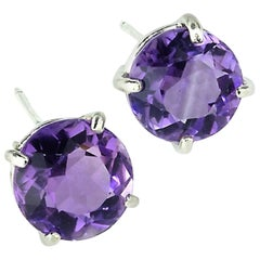 Bright Round Purple Amethyst Stud Earrings