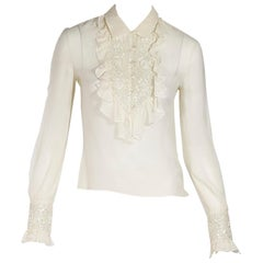 Cream Valentino Silk Chiffon Blouse