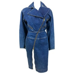 Azzedine Alaia Blue Denim Zipper Dress, 1985