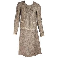 Tan Prada Boucle Skirt Suit Set