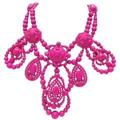 Lanvin Pink Chandelier Beaded Necklace