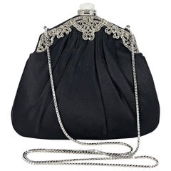Black Judith Leiber Satin Evening Bag