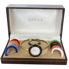 1980s Gucci Bangle Wrist Watch & Bezel Set