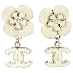 White Chanel Floral & Logo Drop Earrings