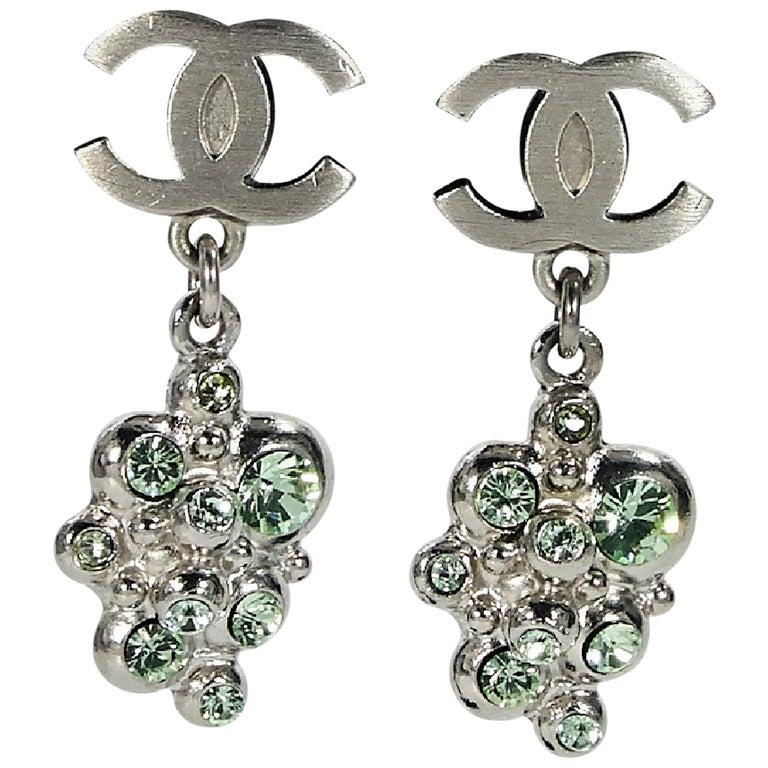 Silvertone Chanel Logo Drop Earrings