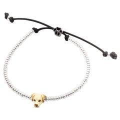 Sterling Silver and Enamel Labrador Retriever Head Bracelet