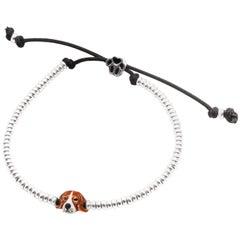Sterling Silver and Enamel Beagle Head Bracelet