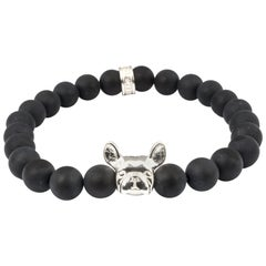Sterling Silver Bulldog  Black Onyx  Beaded Head Bracelet
