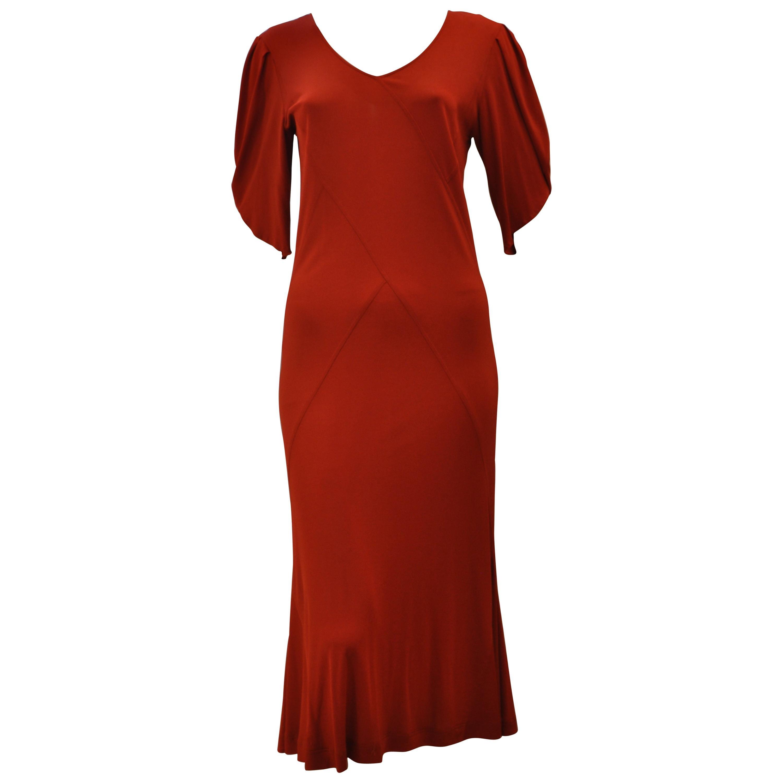 e97361207ce Jean Muir Red Viscose Jersey Dress