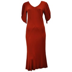 Jean Muir Red Viscose Jersey Dress, 1980s