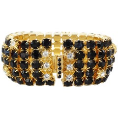 William De Lillo Black Rhinestone Bracelet