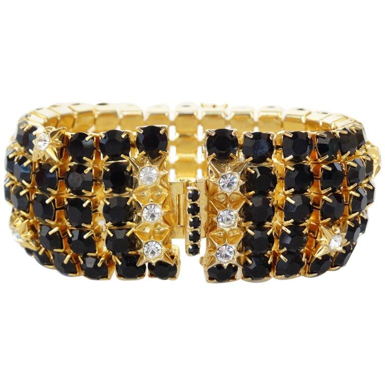 William De Lillo Black Rhinestone Bracelet For