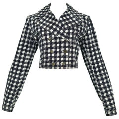 Vintage Iconic Azzedine Alaia 1991 Black & White Denim 'Tati' Jacket