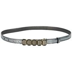Silver Prada Embossed Leather Skinny Belt