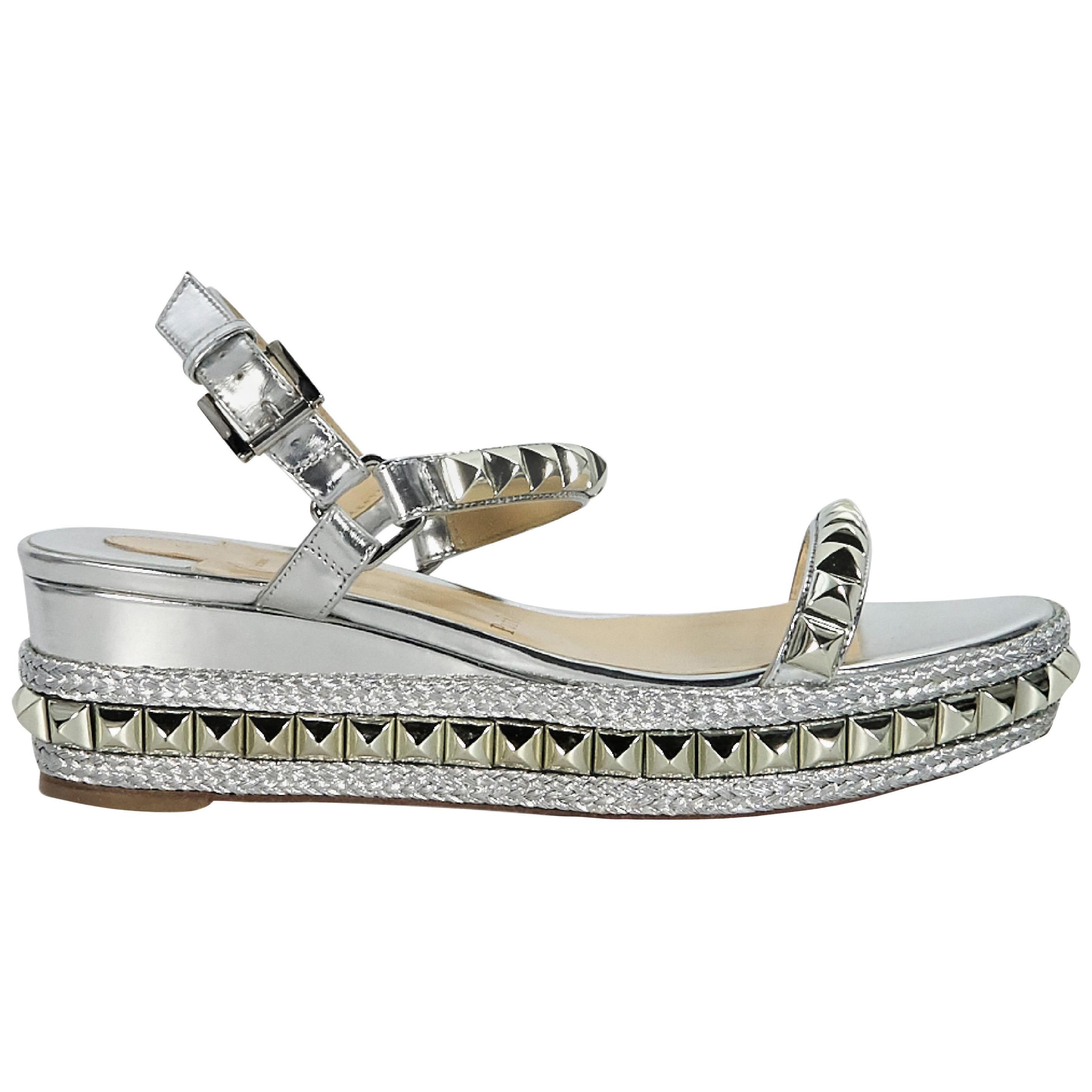 730087feb7c5 Christian Louboutin Silver Studded Cataclou 60 Sandals For Sale at 1stdibs