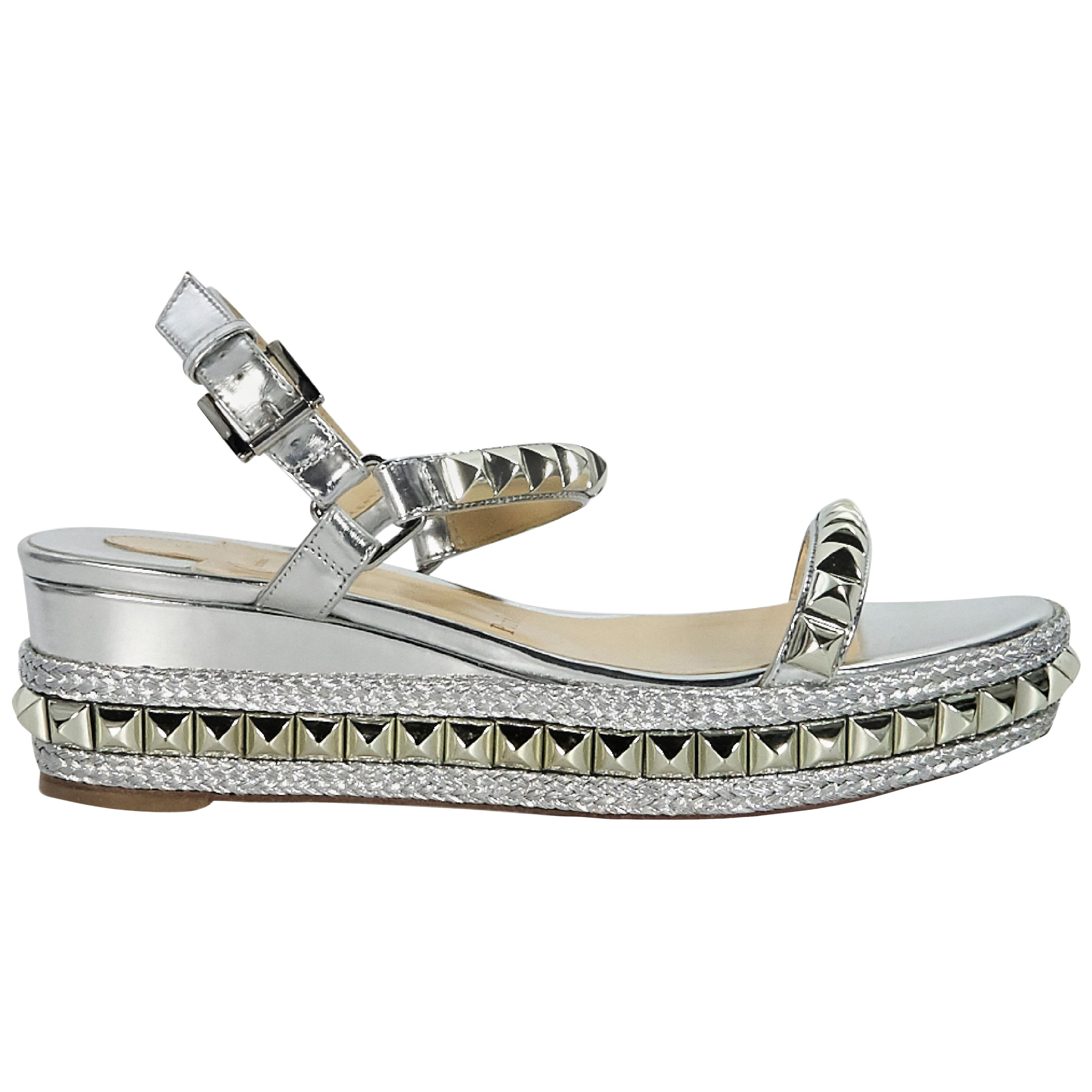 f02a0622577 Christian Louboutin Silver Studded Cataclou 60 Sandals For Sale at 1stdibs