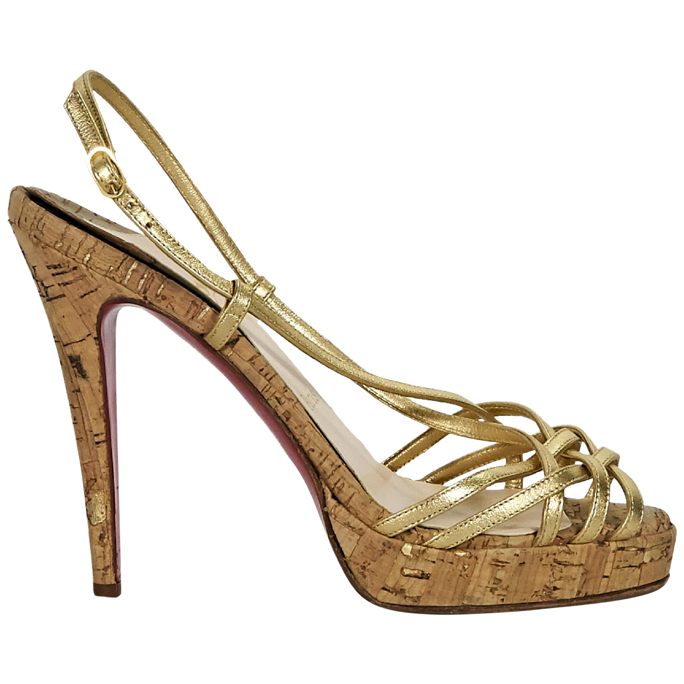 650ece846293 Metallic Gold Christian Louboutin Strappy Platform Sandals For Sale at  1stdibs