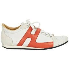White & Orange Hermes Leather Sneakers