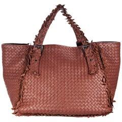 Rust Bottega Veneta Intrecciato Fringe Tote Bag
