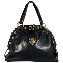 Black Vintage Gucci Studded Babouska Tote Bag