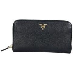 Black Prada Zip-Around Vitello Wallet