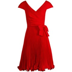 1990s Arnold Scaasi Vintage Red Accordian Pleated Cocktail Dress with Bow Detail