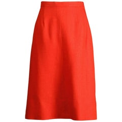 1962 B.H. Wragge Vintage Red Woven Linen/ Silk Pencil Skirt